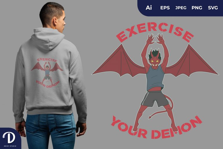 Jumping Jacks Exercise Your Demon for T-Shirt Design