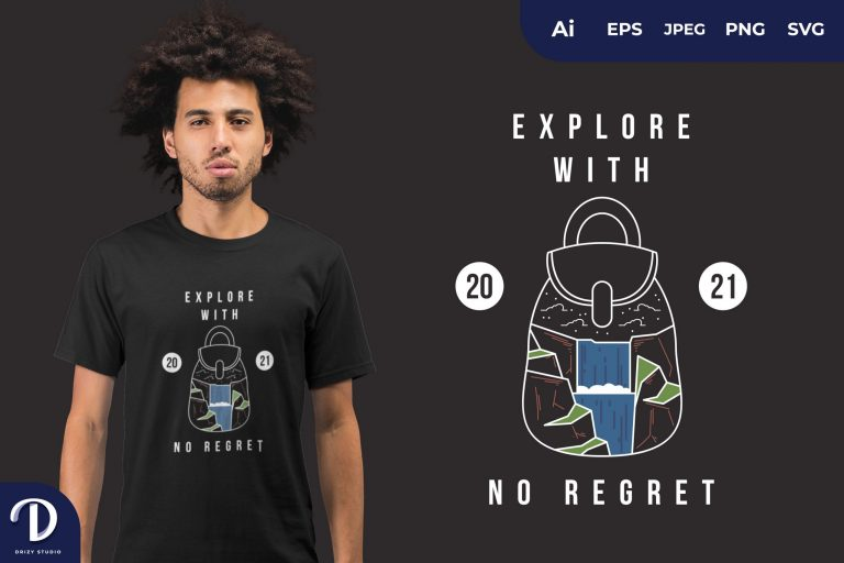 Preview image of Water Fall Explore with No Regret for T-Shirt Design