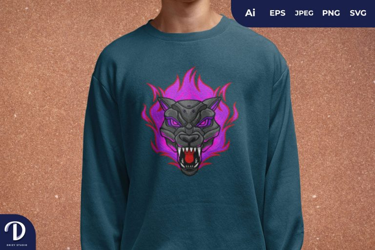 Pink Flaming Wolf Cyborg for T-Shirt Design