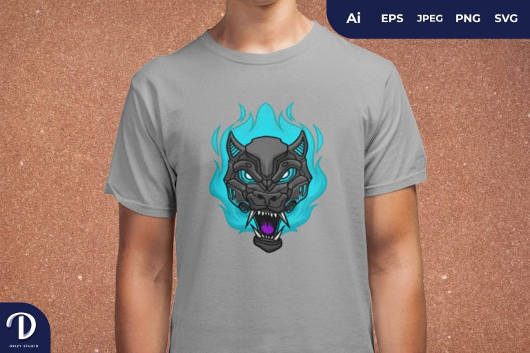Blue Flaming Wolf Cyborg for T-Shirt Design
