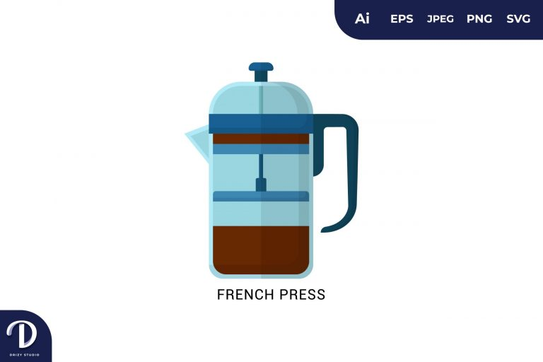 French Press Flat Design Coffee Brewing Methods