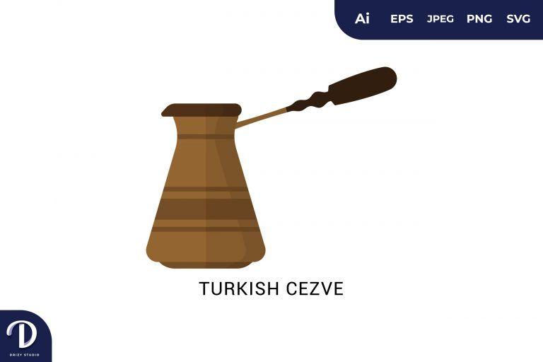 Turkish Cezve Flat Design Coffee Brewing Methods