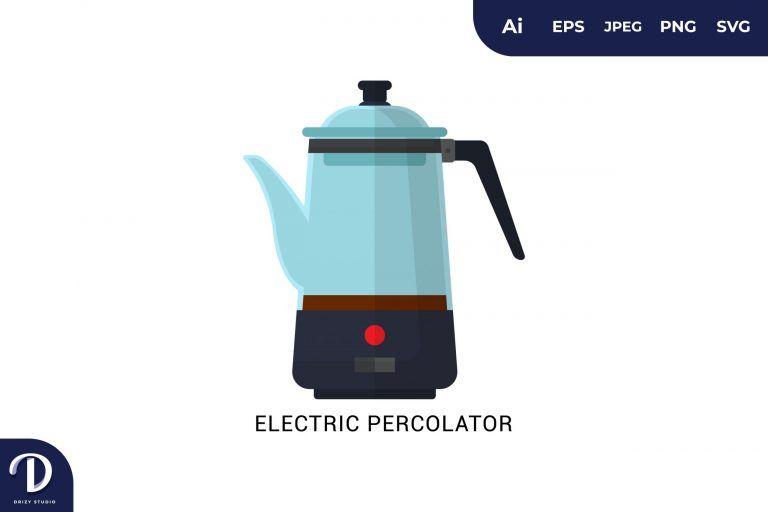 Electric Percolator Flat Design Coffee Brewing Methods