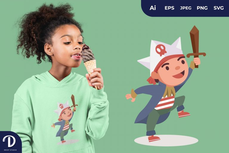 Pirates Flat Adventurous Child Full of Imagination for T-Shirt Design
