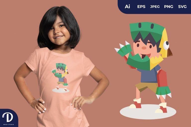T-Rex Flat Adventurous Child Full of Imagination for T-Shirt Design