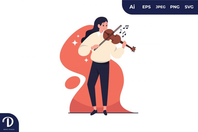 Preview image of Violinist Flat Creativity Concept Illustration