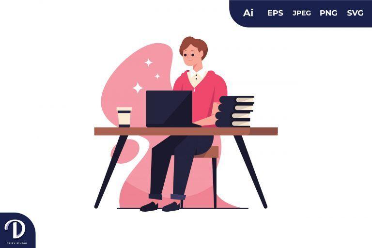 Writer Girl Flat Creativity Concept Illustration