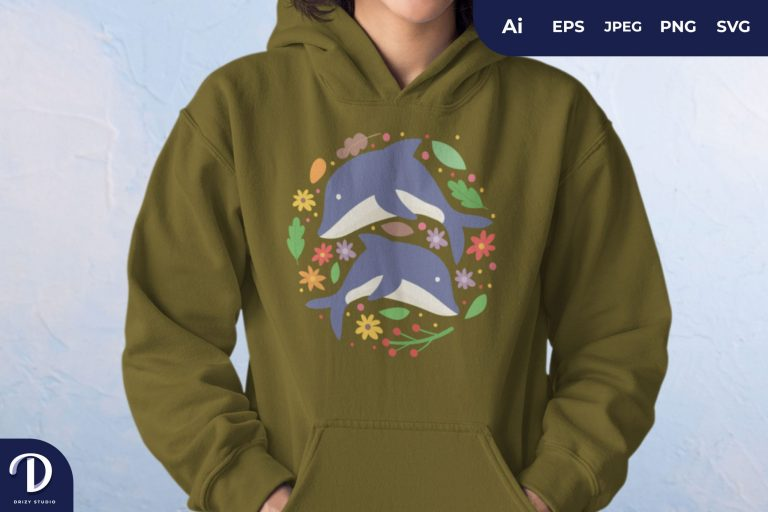 Floral Couple Dolphin For T-Shirt Design