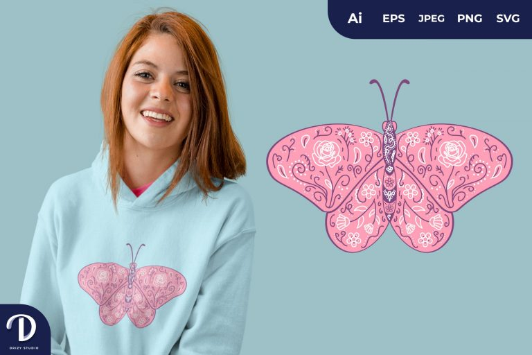 Butterfly Floral Insect Art for T-Shirt Design
