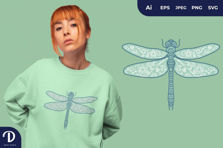 Dragonfly Floral Insect Art for T-Shirt Design