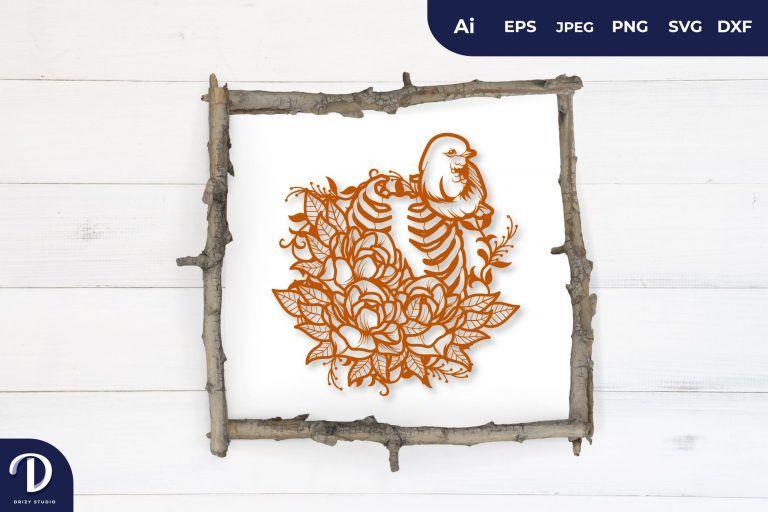 Orange Floral Rib as Bird Cage Papercut