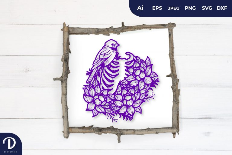 Purple Floral Rib as Bird Cage Papercut
