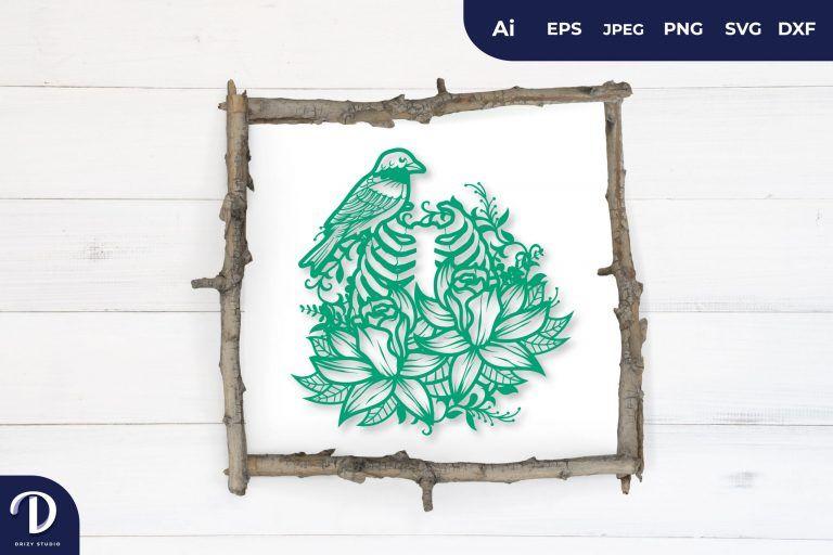 Green Floral Rib as Bird Cage Papercut
