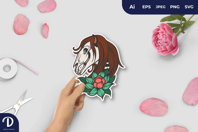 Preview image of Floral Witchcraft Horse Skull For Sticker