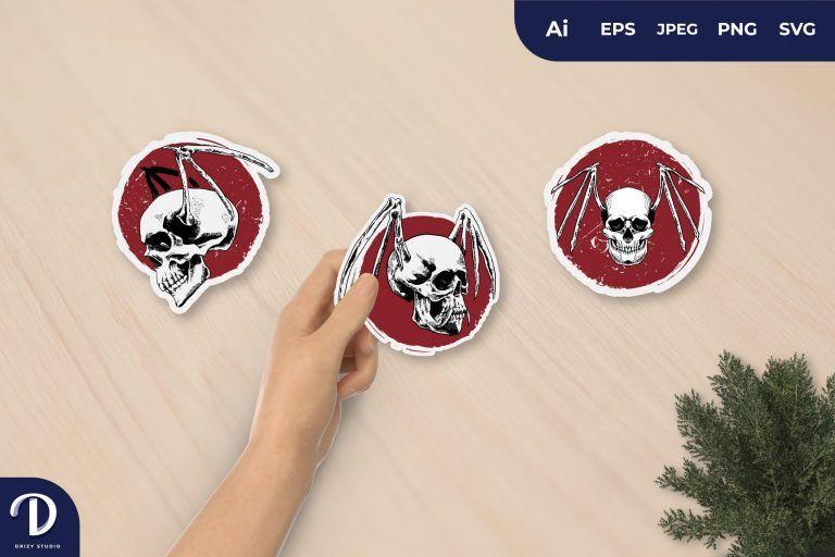 Flying Skull Terror for Sticker