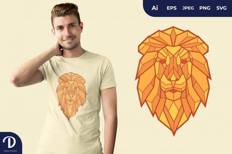 Lion Geometric Animals for T-Shirt Design