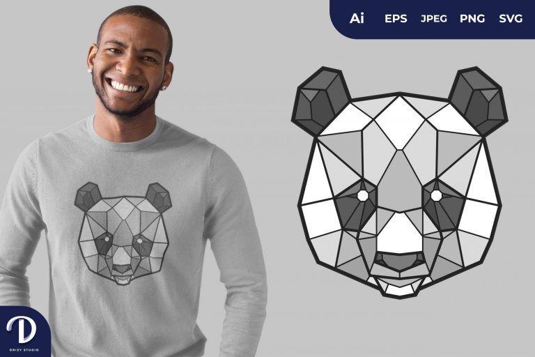 Panda Geometric Animals for T-Shirt Design