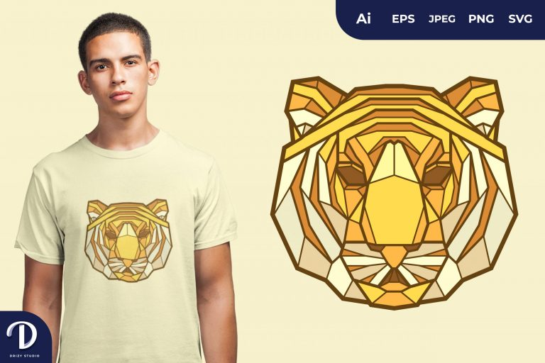 Tiger Geometric Animals for T-Shirt Design