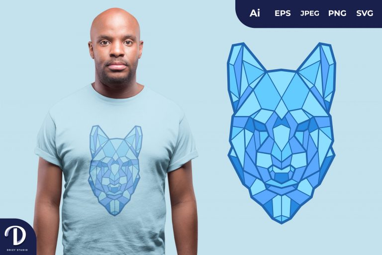 Wolf Geometric Animals for T-Shirt Design