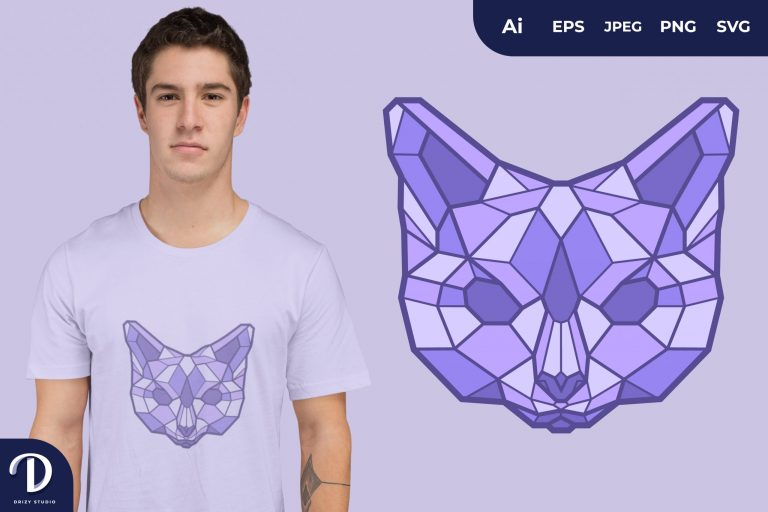 Cat Geometric Animals for T-Shirt Design
