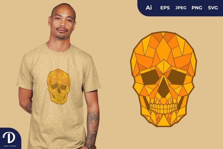 Orange Geometric Skulls for T-Shirt Design