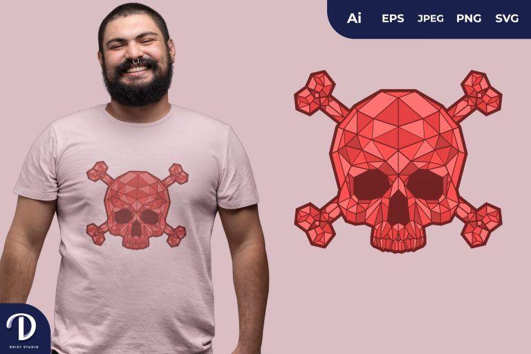 Red Geometric Skulls for T-Shirt Design