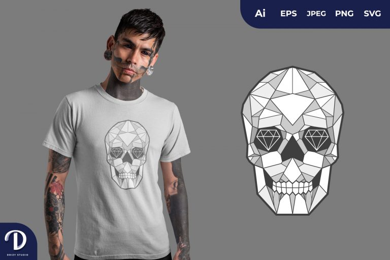 Preview image of Silver Geometric Skulls for T-Shirt Design