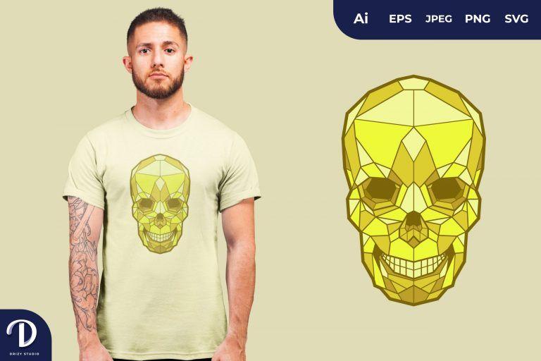 Gold Geometric Skulls for T-Shirt Design