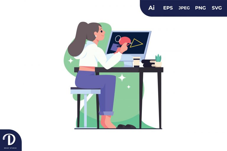 Girl Creating Design with Computer Illustration