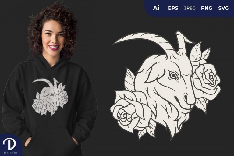 Cool Goat and Flowers for T-Shirt Design