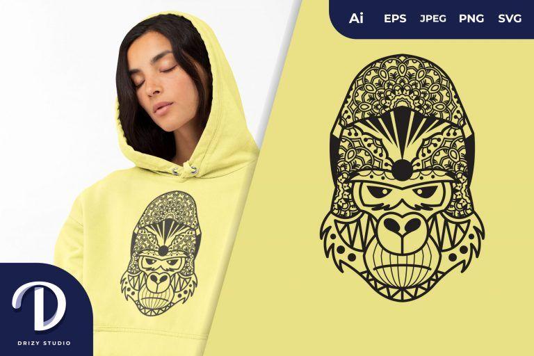 Poker Face Gorilla Mandala for T-Shirt Design