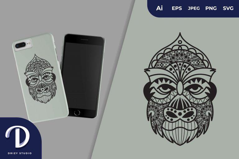 Gorilla Mandala for T-Shirt Design