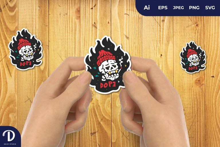 Beanie Hat HIPSTER SKULL ON FIRE for Sticker