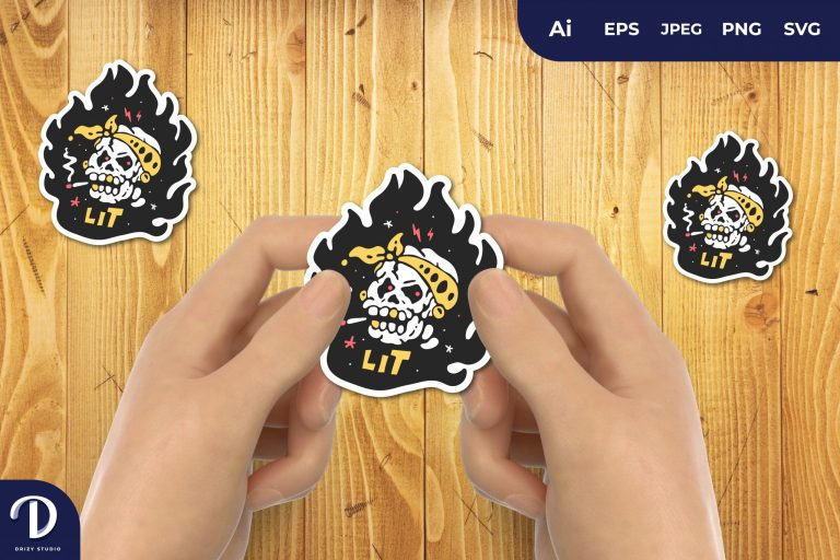 Preview image of Bandana Hat HIPSTER SKULL ON FIRE for Sticker