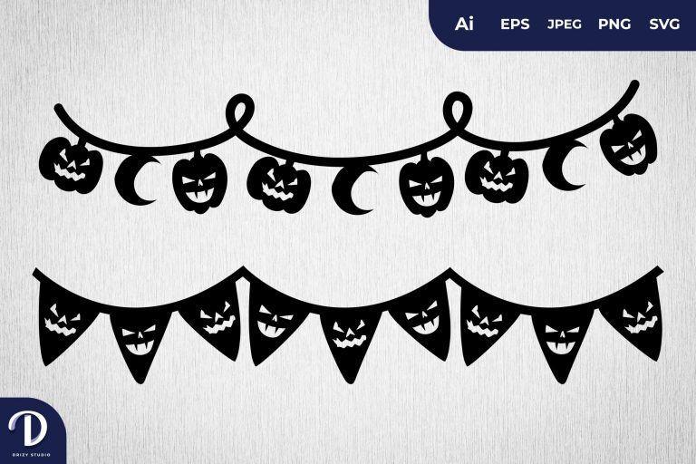 Preview image of Jack-o'-lantern Halloween Scrapbook Banner Set