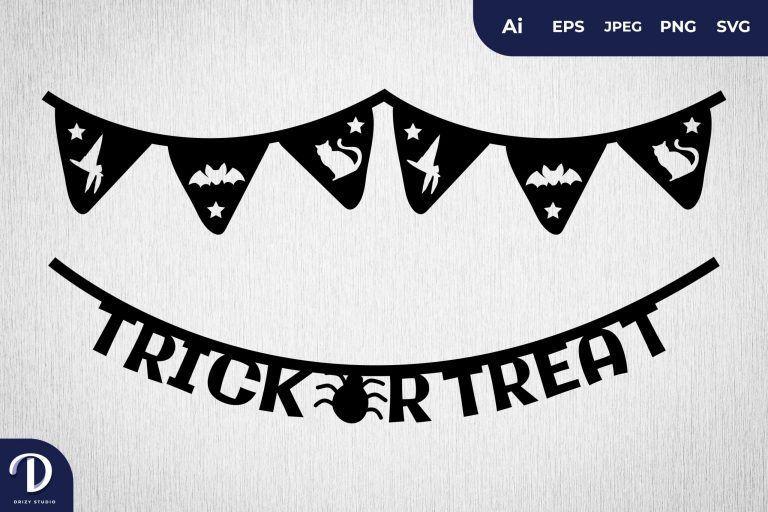 Trick or Treat Halloween Scrapbook Banner Set