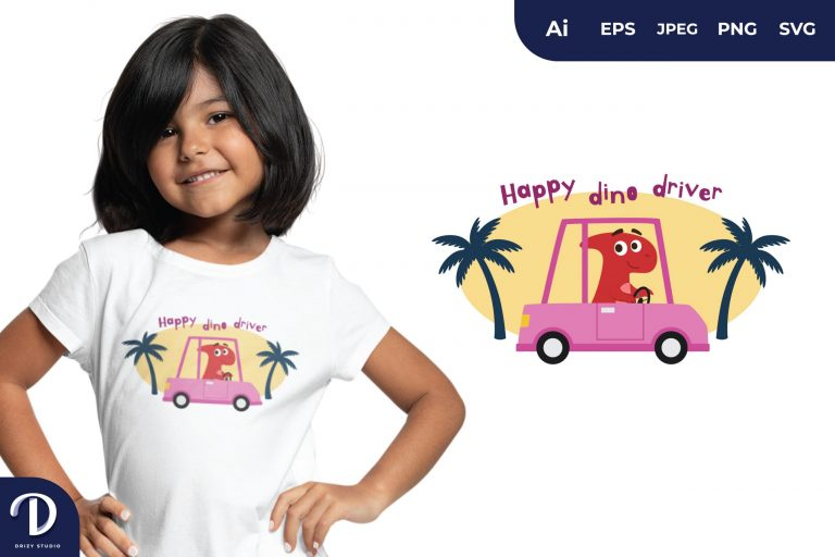 Parasaurolophus Happy Dino Driver for T-Shirt Design