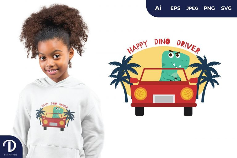 Tosca T-Rex Happy Dino Driver for T-Shirt Design