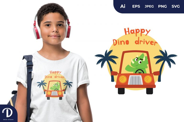 Triceratops Happy Dino Driver for T-Shirt Design