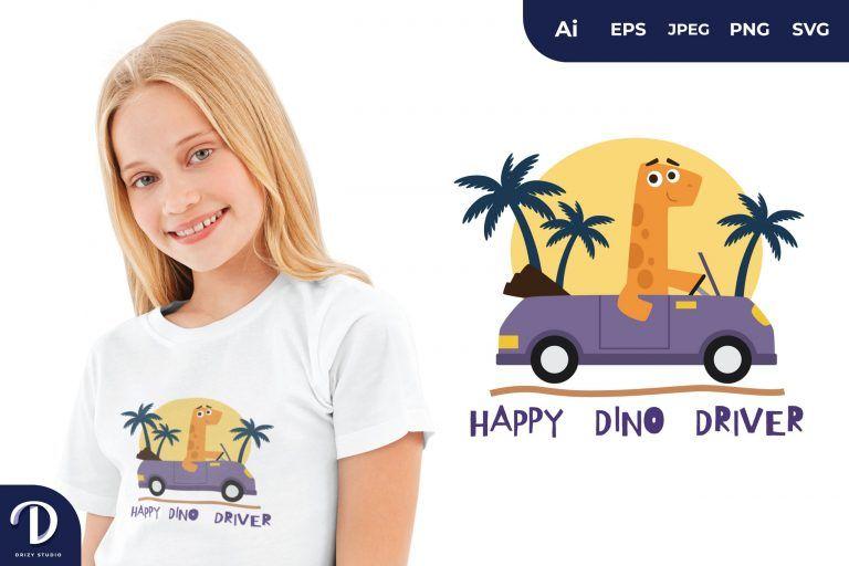 Brontosaurus Happy Dino Driver for T-Shirt Design