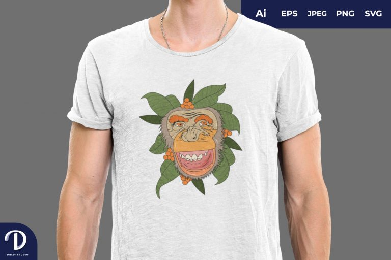 Happy Floral Ape for T-Shirt Design