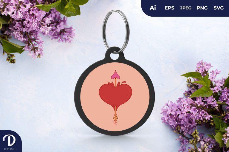 Heart And Arrow Keychain