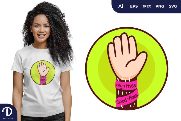 One Hand High Fives for T-Shirt Design