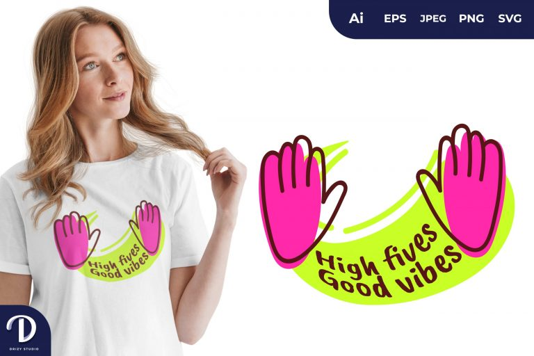 Purple High Fives for T-Shirt Design