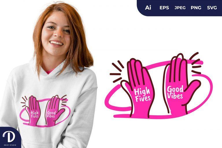 Purple Swing High Fives for T-Shirt Design