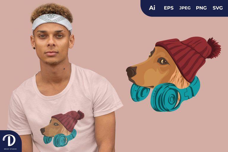 Golden Retriever Hipster Dogs for T-Shirt Design