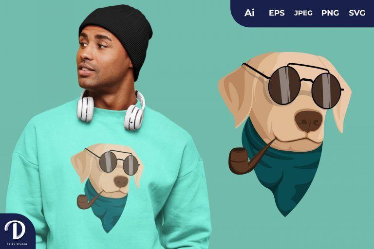 Preview image of Labrador Retriever Hipster Dogs for T-Shirt Design