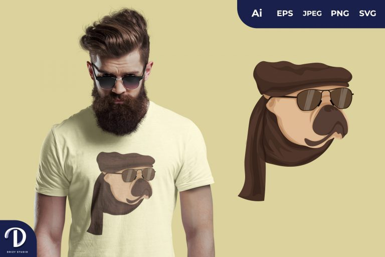 Pug Hipster Dogs for T-Shirt Design