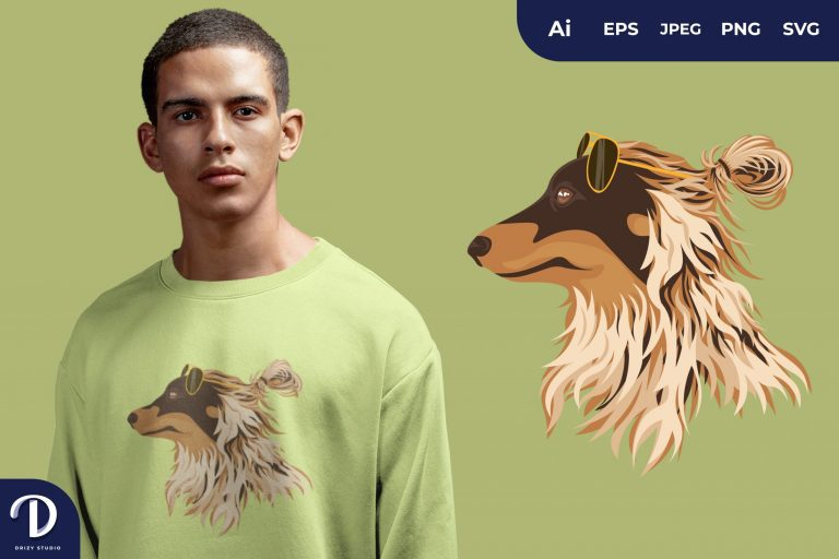 Rough Collie Hipster Dogs for T-Shirt Design