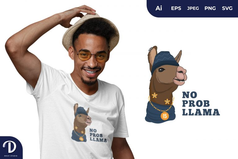 Show Off Hipster Llama for T-Shirt Design